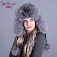 Fur Hat for Women Natural Raccoon Fox Fur Russian Ushanka Hats Winter Thick Warm Ears Fashion Bomber Cap Black New Arrival