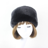 Flat Top Hat Woman's 2018  Winter Black Imitation Fur Rabbit Fur Casual Black Hat Japan and South Korea White Warm Snow Cap W050