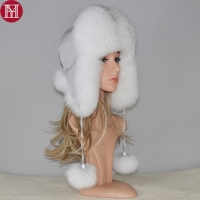 2019 new winter Russian natural real fox fur hat hot sale women warm good quality Fox Fur Bomber hats genuine real fox fur cap