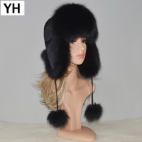 New Style Winter Genuine Real Fox Fur Hat Women 100% Natural Real Fox Fur Cap 2019 Quality Warm Russia Real Fox Fur Bomber Caps