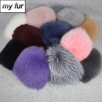 2020 New Women Winter Real Fox Fur Hat Elastic Warm Soft Fluffy Genuine Fox Fur Cap Luxurious Quality Real Fox Fur Bomber Hats