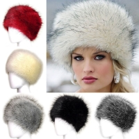 Russian Women Lady Faux Fox Fur Earflap Snow Hat Cossack Style Beanie Warm Cap Winter