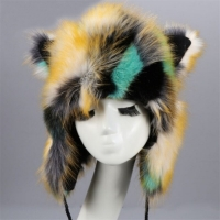 Women Winter Cat Ear Faux Fur Bomber Hats Cute Hair Ball Plus Velvet Thickening Keep warm Ear Protection Cap W004