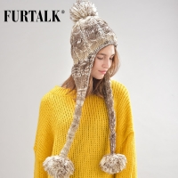 FURTALK  Women Winter Hat with Ears Wool Knitted Earflap pompom Hat for Grls Female Winter Warm Hat