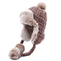 Women Trapper Hats Winter Warm Faux Fox Fur Bomber Hat Beanies Russian Ushanka Wool Knit Pom Pom Earflaps Aviator Caps