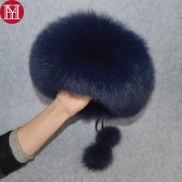 2019 Luxury Winter 100% Natural Real Fox Fur Hat Women Outdoor Quality Real Fox Fur Bomber Hats Girl Real Genuine Fox Fur Cap