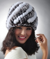 New Knitted genuine natural REX rabbit fur hat cap headgear headdress women warmer skullies Wholesale H610