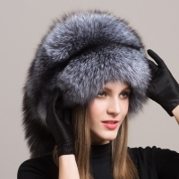 Winter Women Fur Cap Real genuine natural Fox Fur Hats Headgear Russian Outdoor Girls  Beanies Cap ladies warm fashion cap hat
