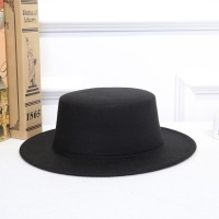 Colorful Fall Winter Vintage Classic Retro Jazz Ladies Warm Female Fashion Fedoras Bucket Cotton Felt Caps Flat Top Hat