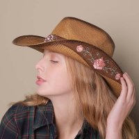 Women Straw Western Cowboy Hat For Summer Elegant Lady Cowgirl Sombrero Hombre Caps With Handmade Embroidery Hats