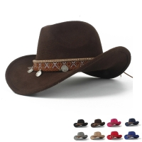 Western Cowboy Hat For Women Roll-up Brim Elegant Lady Fascinator Outblack Sombrero Hombre Jazz Cap Size 56-58