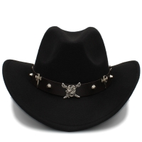 Fashion Women Wool Hollow Western Cowboy Hat Pirate Leather Belt Male Jazz Montana Sombrero Hombre Cap Size 56-58cm