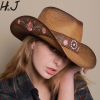 Women Western Cowboy Hat For Summer Elegant Lady Cowgirl Sombrero Hombre Caps With HandWork Embroidery Hats Size 57-58CM