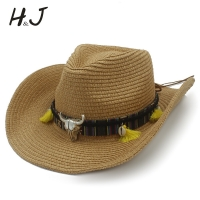 Women Summer Straw Western Cowboy Hat With Roll Up Wide Brim Lady Jazz Sombrero Hombre Cowgirl Hat
