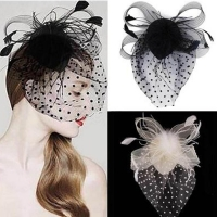 Newest style hot sale Party Fascinator Hair Accessory Feather Clip Hat Flower for Lady hazy Veil Wedding Decoration