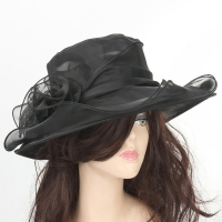Fasion Women Wedding Formal Church Organza Wide Brim Hat  Fedoras