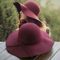 2018 New Pillbox Hat Women's Wide Brim Felt Bowler Fedora Hat Floppy Sun Bowknot Cloche Cap Women's Large Hat 10 Colors outdoor