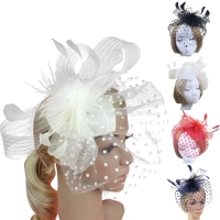 Lady Feather Fascinator Cocktail Hat Hairpins for Wedding Party Clip French Mesh Veil Hair Band Hair Accessories hat