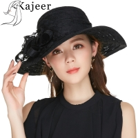 Kajeer Church Hats For Women Black Sexy Floral Crown Vintage Style Organza Fascinator Sun Hat Women Party Dance Hair Accessory