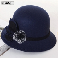 SILOQIN Women's Hats Retro England Warm Fedoras 2019 New Style Spring Autumn Fashion Noble Elegant Flower Decoration Female Hat