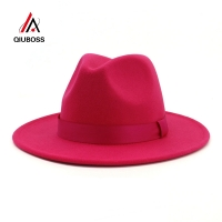 QIUBOSS Womens Ladies Womens Rosy Wool Felt Jazz Fedora Hats Fashion Women Trilby Flat Brim Panama Gambler Hat Carnival Cap