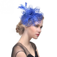 Hot Sale Net Feather Fascinator Hats Flower Cocktail Tea Party Headwear Wedding Bridal Hats Fascinator Hat for Girls and Women