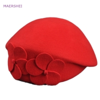MAERSHEI Vintage black woolen hat dome bow lotus leaf big hat lady autumn and winter hat temperament hat
