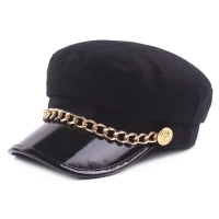 Military hat women army hats caps of sailor cap marine gorro marinero militar navy hat Leather Visor Black flat top cap