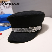 Fashion Diamond Military Hat Autumn Cotton Sailor Hat for Women Men  Flat Top Female Crystal Travel Cadet Hat Captain Cap