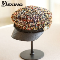 2019 spring Military Hats Small Grid Vintage Sailor  Hats For Women Fashion Gold Yellow Thread Tweed  yacht captain hat