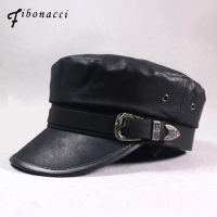 Fibonacci 2018 New Faux Leather Military Cap Autumn Winter Belt Buckle PU Flat Top Women Army Hat