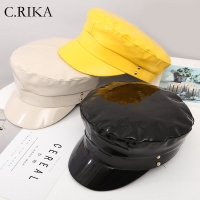New Fashion Patent Military Hats High Quality Ladies Hats Solid Color Flat Top Hat PU Leather Bone Captain women Winter Berets