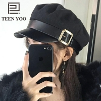 Fashion PU Leather Military Hat spring cotton Sailor Hat For Women Belt buckle Black Grey flat top Beret Newsboy Cap Captain Cap