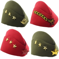 New Sailor Hat Square Dance Performance Canvas Boat Army Hat Fans Stewardess Military Cap Autumn Winter Five Star Chain Beret VL