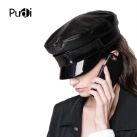 Pudi women genuine leather military hat cap 2018 new style real leather student school caps hats HL809