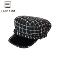New Fashion Ladies Military Hats Winter Plaid Tweed Small Fragrance PU Eaves Flat Top Casquette Militaire Women Casual Snapback