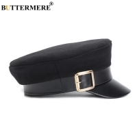 BUTTERMERE Military Hat Women Army Cap Woolen Patchwork Leather Black Baker Boy Hat Spring Autumn Brand Sailor Flat Top Hat