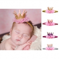 Newborn Crown Kids Girls Shiny Princess Hair Clip Elastic Lace Pearl Headband Wedding Birthday Party Hair Decoration