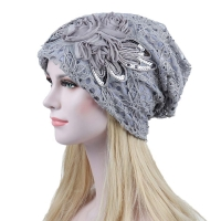 Autumn winter Hat beanie Lace floral hat Baggy Beanie Cancer Hat Turban Ms. lace month warm chemotherapy hat cappello donna