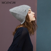 2019 New Women Hat Baggy Bonnet Beanies Female Rabbit Hair Wool Knitted Winter Hats Soft Skiing Slouchy Beanie With Back Opening