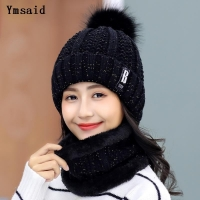 High Quality Ski Cap 2018 New Brand Wool Fur Lining Ball Cap Pompom Winter Hat For Women Girls Warm Knitted Scarf Hat