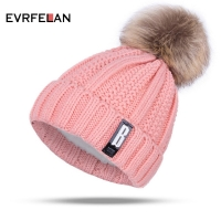 New Pom Poms Winter Hat for Women Fashion Solid Warm Hats Knitted Beanies Cap Brand Thick Female Cap Wholesale