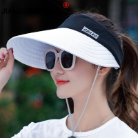 wholesale 1PCS women summer Sun Hats pearl packable sun visor hat with big heads wide brim beach hat UV protection female cap