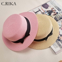 2019 fashion ladies Flat Bow Straw hat summer sun Hat for Women girls fashion beach  Fedora hat