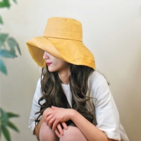 2019 Summer Korean Style Fashion Women Girl Sun Hat Simple Lady Foldable Cotton Ladies Wide  Hats Outdoor Leisure Beach #279469