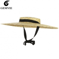 GEMVIE New Large Brim Straw Hat Summer Hats For Women Ribbon Beach Cap Boater Flat Top Sun Hat