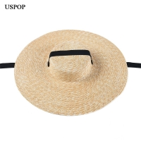 USPOP summer hats women sun hat french style wide brim straw hat casual natural wheat straw hat lace-up beach hat shade