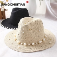 New Spring Summer Hats For Women Flower Beads Wide Brimmed Jazz Panama Hat Sun Visor Beach Hat Flower Pearl rivet Straw Hat