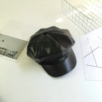 3 Colors Solid Color PU Leather Octagonal Cap Fashion Autumn Winter Caps Male Female Casual Vintage Hats Accessories