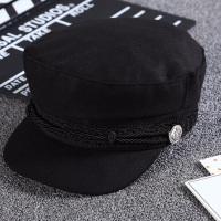 2018 Fashion Black Lace Embroidery Captain Hat Casual Rope Flat Cap Women Newsboy Sunhats Autumn Winter Cool Girls Beret Hat